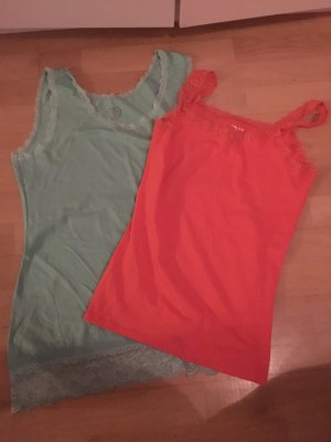 Lace Top neon orange-turquoise