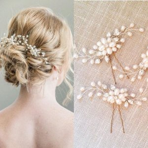 2 x Haarnadel Kopfschmuck Haarschmuck Perle Kristall Hochzeit Braut Brautschmuck