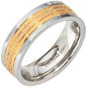 2 x Partner Ring Edelstahl bicolor vergoldet mattiert