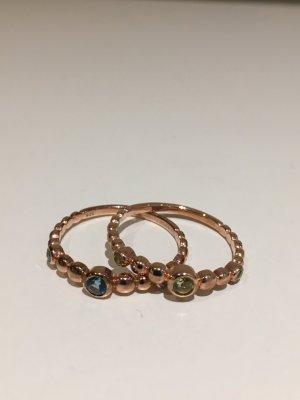 2 x Stacking Ringe rosé vergoldet, mit echten Edelsteinen,  New One by Schullin, NEU und ungetragen! Gr. 57