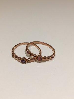 2 x Stacking Ringe rosé vergoldet, mit echten Edelsteinen,  New One by Schullin, NEU und ungetragen! Gr. 58
