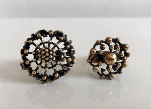 2 x  XL Bronze Modernist Design Finnland Ring Set Bronzering Ringe Blumen Design Skandinavien