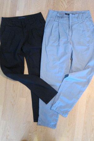 2 Zarastoffhosen in schwarz und grau