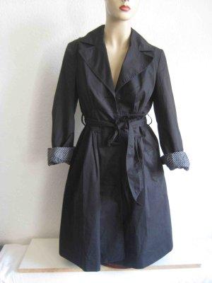 Trenchcoat Mantel schwarz, gepunktetes Innenfutter - casual Look