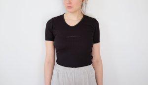 2000er original emporio armani shirt schwarz struktur 100% baumwolle designer stretch XS S 34 36