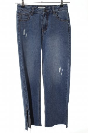 24Colours 7/8 Length Jeans pale blue distressed style