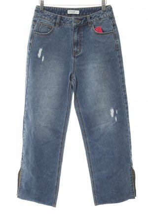 24Colours Boyfriendjeans stahlblau Used-Optik