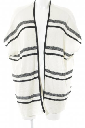 24Colours Cardigan cream-black striped pattern simple style