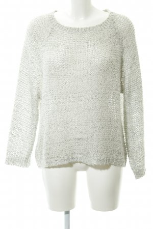 24Colours Coarse Knitted Sweater white-black loosely knitted pattern casual look