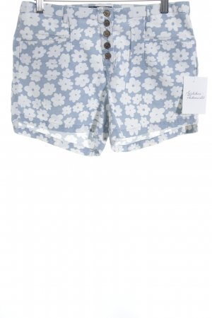 24Colours Hot pants lichtblauw-wit bloemenprint Beach-look