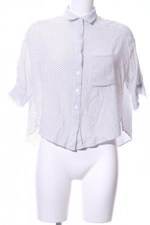 24Colours Short Sleeved Blouse white-black spot pattern business style