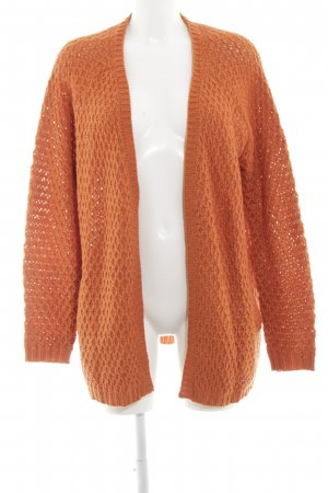 24Colours Knitted Cardigan light orange cable stitch simple style