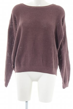 24Colours Knitted Sweater brown weave pattern casual look