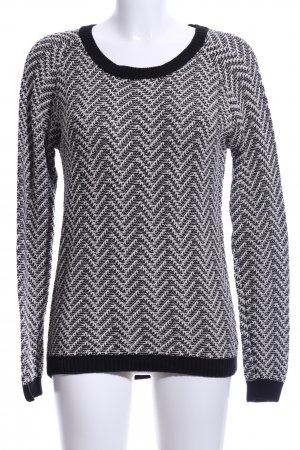 24Colours Knitted Sweater black-white abstract pattern casual look