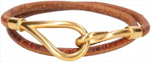 25009 Hermès Jumbo Double Tour Armband, Halskette aus Leder in den Farben Braun und Gold