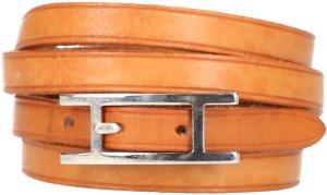 25035 Hermès Hapi 3 Armband, Wickelarmband aus Leder in den Farben Braun und Palladium