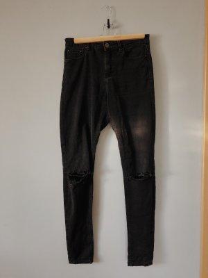 27/32 Schwarze High-Waist Jeans mit zerrissenen Knien