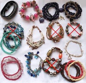 28 Armbänder Sammlung Tükis Blau Pink Braun Weiß Orange Silber