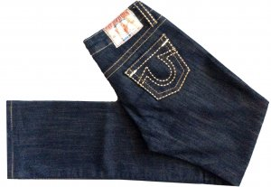 28 S M TRUE RELIGION Hose Jeans Hüftjeans Hüfthose dunkelblau gold neuwertig