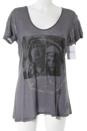 291 Venice Camiseta gris-negro estampado temático look casual