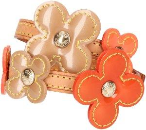 29915 Louis Vuitton Fleur Vernis Armband aus Leder und Lackleder in Orange und Beige mit Box