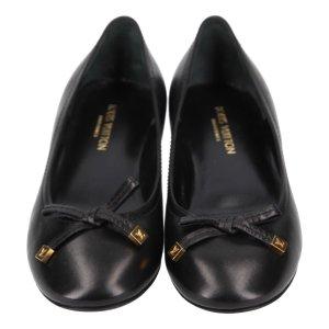 Louis Vuitton Ballerine en pointe noir-doré cuir