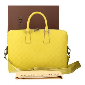 Louis Vuitton Bolso amarillo limón-color plata Cuero