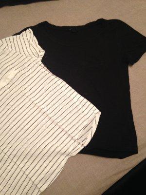 2er Pack Jerseyshirt gestreift/schwarz Gr. XS