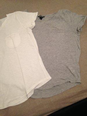 2er Pack Jerseyshirt grau/Weiß Gr. S