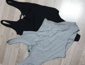 Shirtbody zwart-lichtgrijs