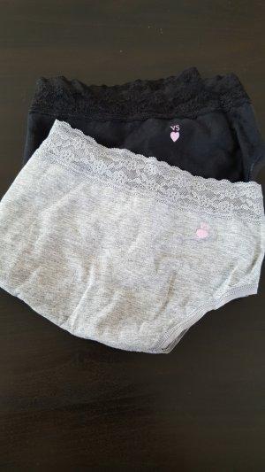 2er Pack Victoria's Secret, Slips, Höschen, Spitze, grau & schwarz, Gr. XL