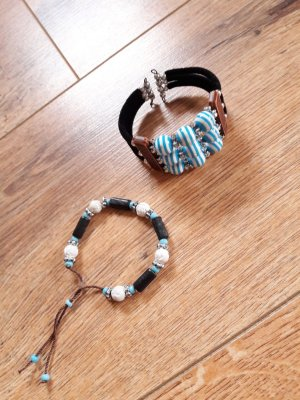 2er-Set Armband und Armreif türkis blau schwarz weiß bronze