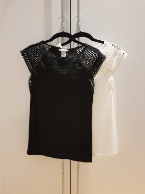 H&M Lace Top white-black