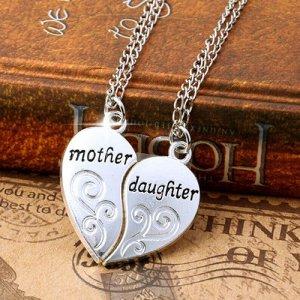 2er Set Halskette mit Herzanhänger Mutter und Tochter – Partnerschmuck