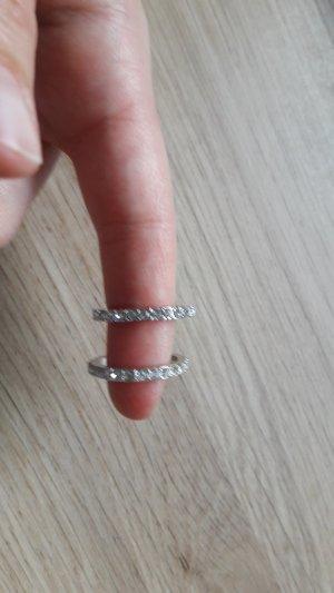 2er Set Ringe Modeschmuck silber mit Schmucksteinen