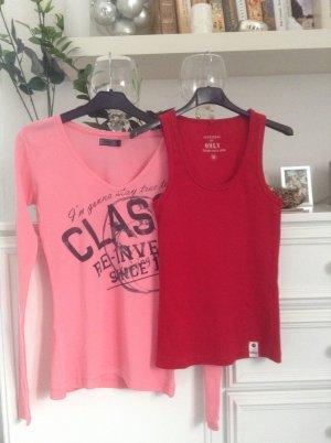 2er Set Shirts / Gr. S/M / rosa und rot / ONLY