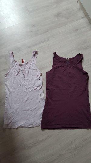 2er Set Tanktops Tops Achselshirts Divided Multiblu lila grau Größe 40 / 42