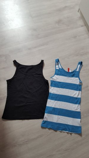 2er Set Tanktops Tops Achselshirts H&M Basic gestreift schwarz Größe 40
