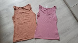 2er Set Tanktops Tops Basic Shirts H&M Basic rosa lachs Größe S / M