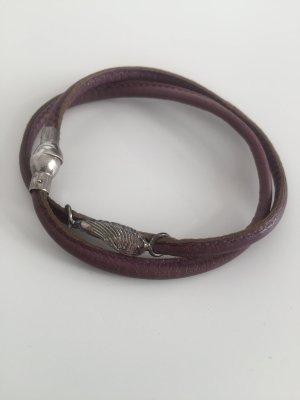 2fach Armband aus Leder lila mit Flügeln Silber von Heide Heinzendorff