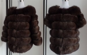 2in1 Fuchs Pelz Jacke Weste Color Sable Zobel Pelzmantel Fox Vest Coat