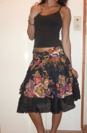 Flounce Skirt black-dark red cotton