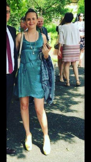 2nd Kleid Seide Seidenkleid Petrol Minikleid