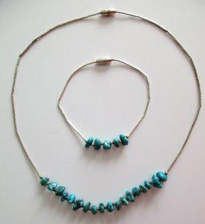 2teilig Indianer Kette Halskette Silber Nuggets