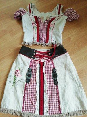 Spieth & Wensky Vestido Dirndl crema-rojo oscuro