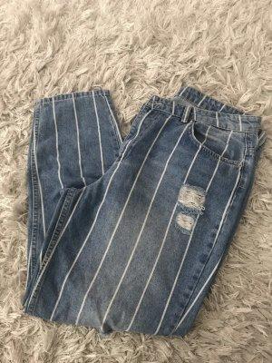 Jeans boyfriend blanc-bleu foncé