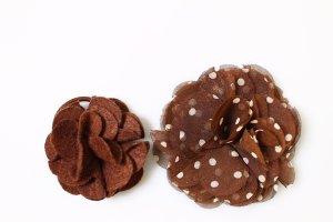 2x Brosche Haarschmuck Haare Spange braun gepunktet polka dots vintage boho
