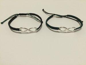 2x DIY Armband Armkette Freundschaftsarmband Infinity Silber Schwarz Dunkelgrün