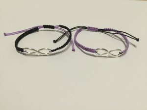 2x DIY Armband Armkette Freundschaftsarmband *Infinity* Silber Schwarz Flieder