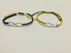 2x DIY Armband Armkette Freundschaftsarmband *Infinity* Silber Schwarz Gelb